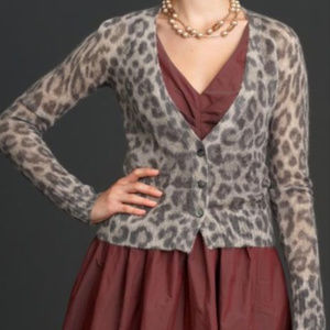 MADMEN Banana Republic S Leopard Cardigan Sweater